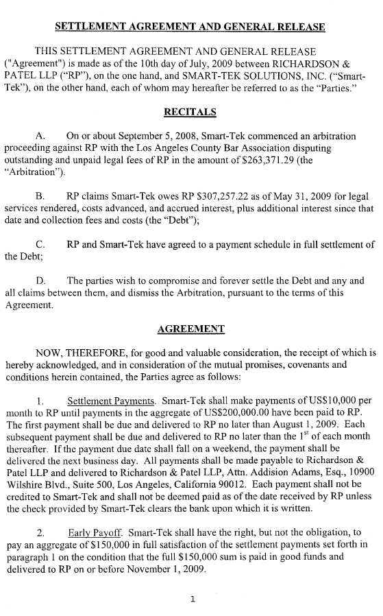 Trucept, Inc. - Form 10-K - Ex-10.10 - Settlement Agreement And