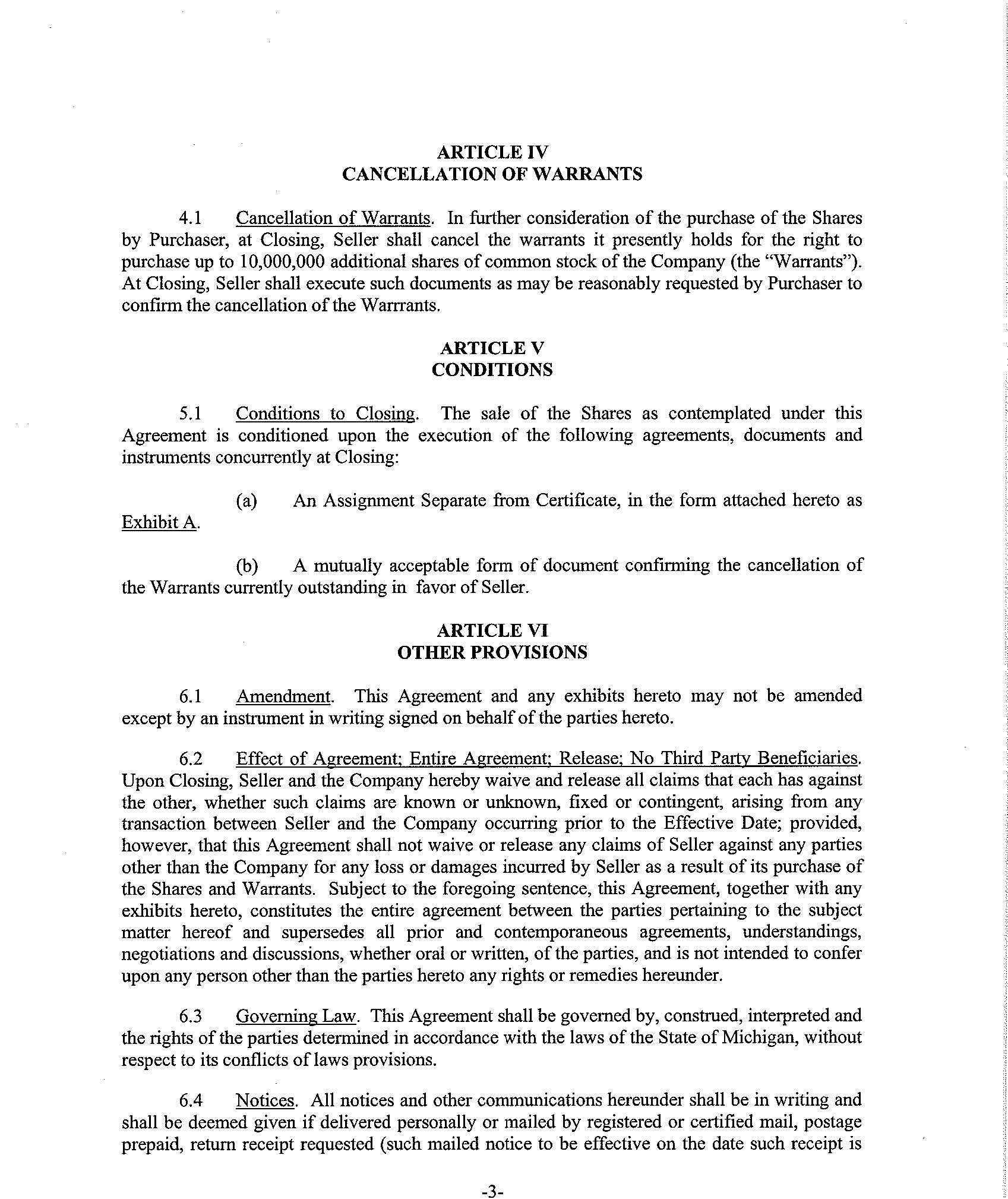 Brekford Corp FORM 8K EX101 STOCK PURCHASE AGREEMENT – Stock Purchase Agreement Template
