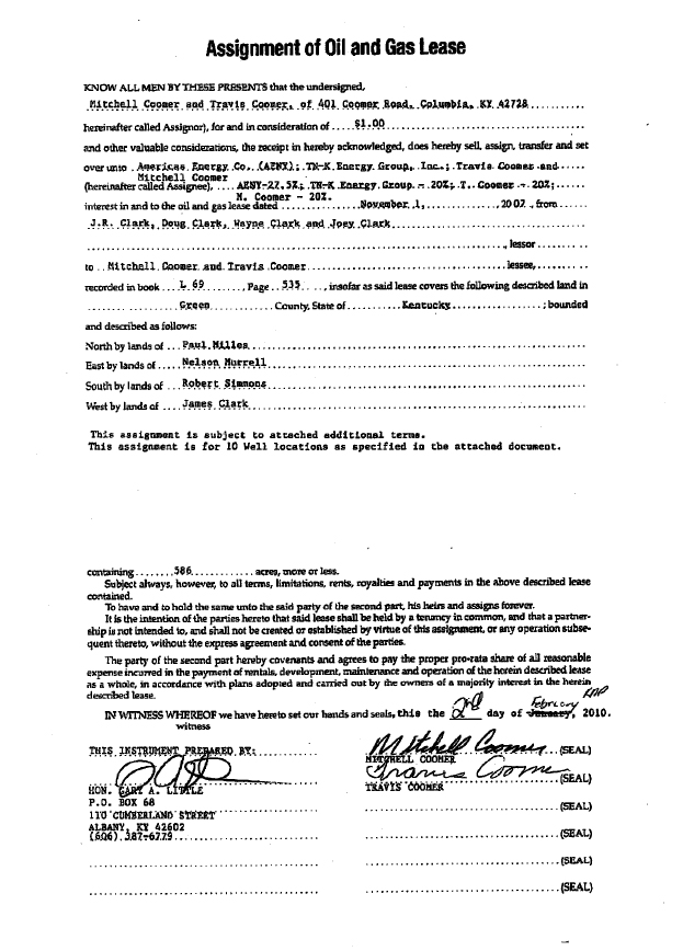 Tn-K Energy Group Inc. - Form 8-K - Ex-10.16 - Assignment Of Oil