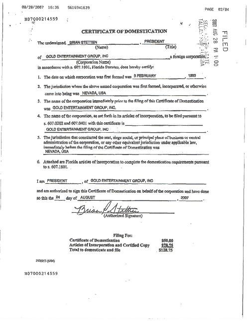 GOLD ENTERTAINMENT GROUP INC - FORM S-1 - EX-1 - FLORIDA ...