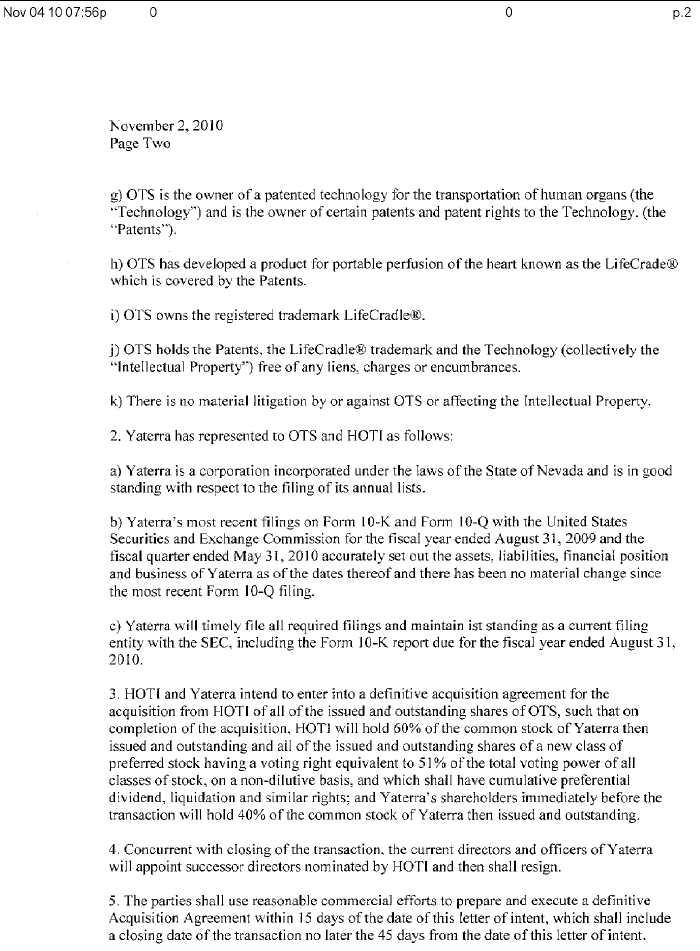 Mining Global, Inc. - FORM 8-K - EX-99.1 - LETTER OF INTENT ...