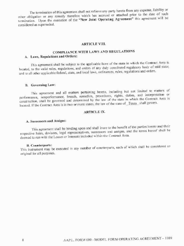 Maverick Minerals Corp Form 8 K Ex 103 Joint Operating