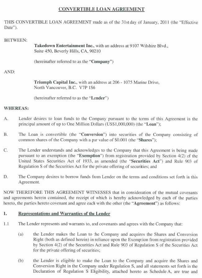 Green Hygienics Holdings Inc Form 8 K Ex 101 Convertible