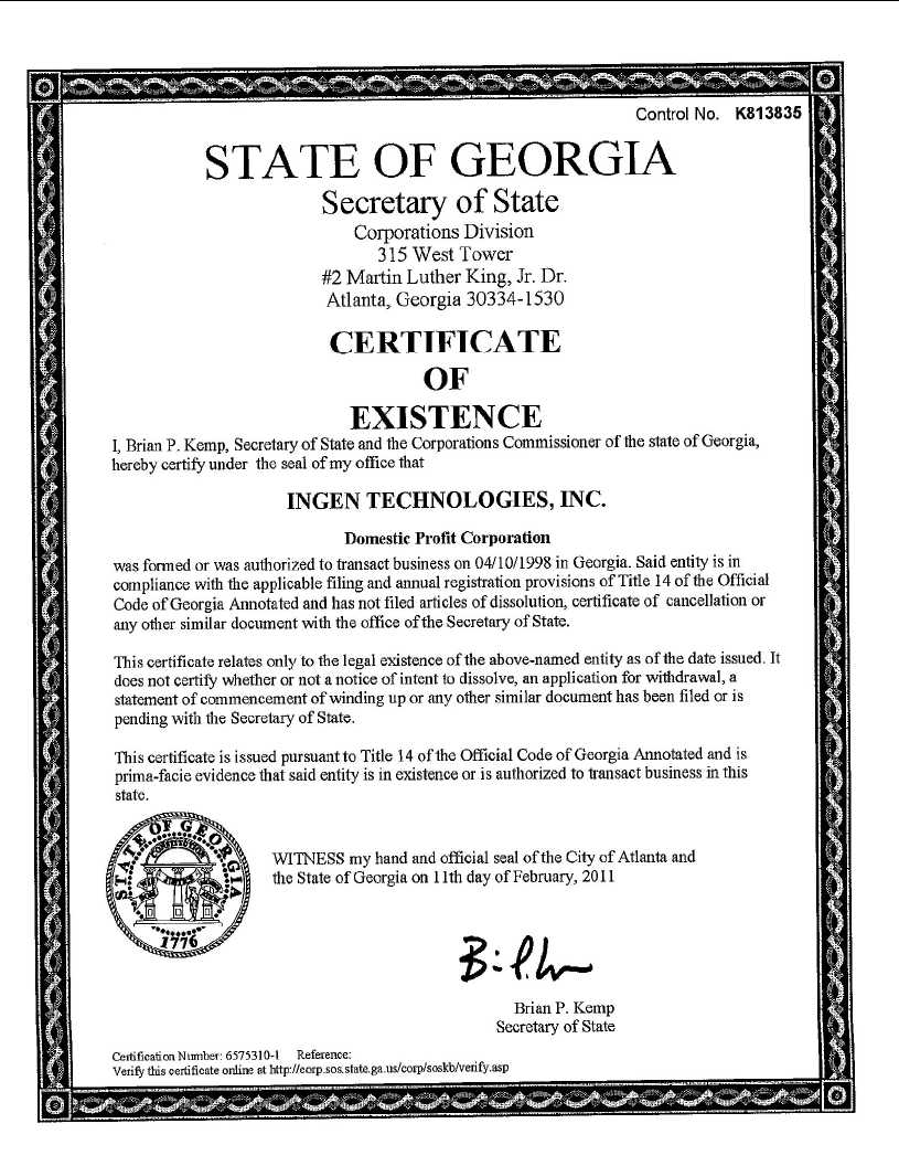 Ingen Technologies Inc Form 8 K Ex 997 Ga Certificate Of