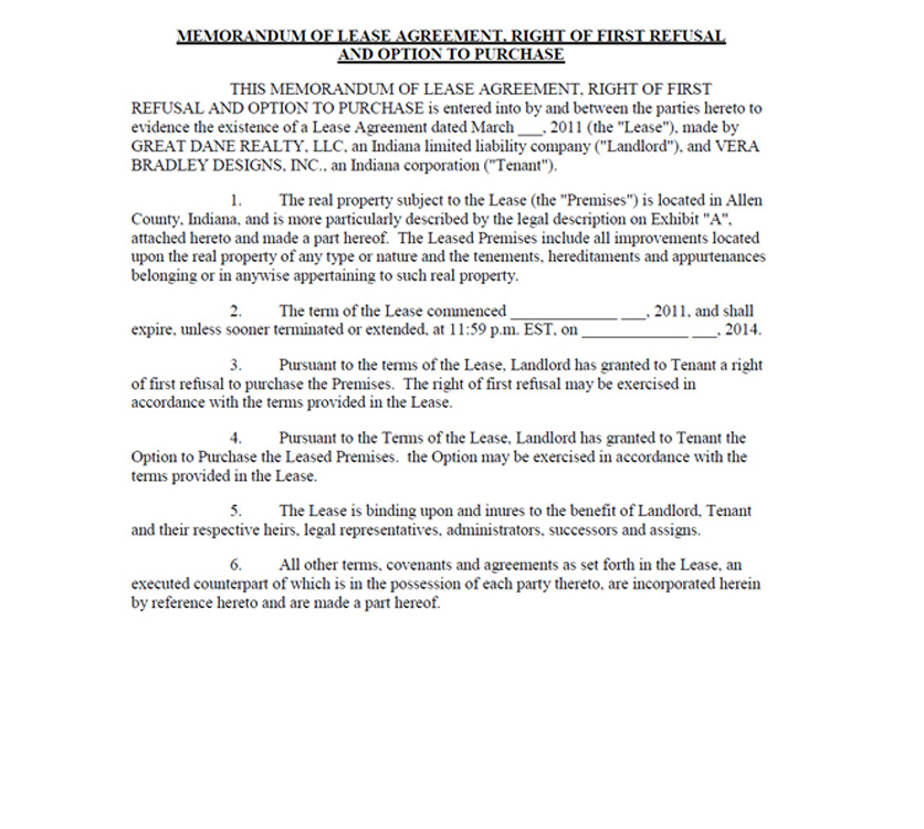 Vera Bradley Inc Form 8 K Ex 101 Lease Agreement Dated As