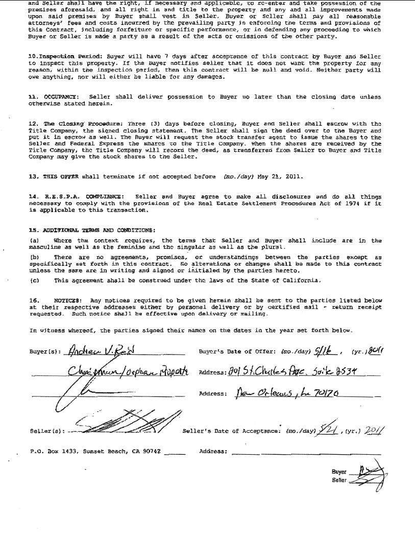 Orpheum Property Inc FORM 8K EX11 REAL ESTATE SALES – Real Estate Sales Contract