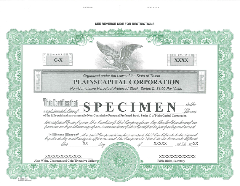 Plainscapital Corp Form 8 K Ex 41 Form Of Stock Certificate