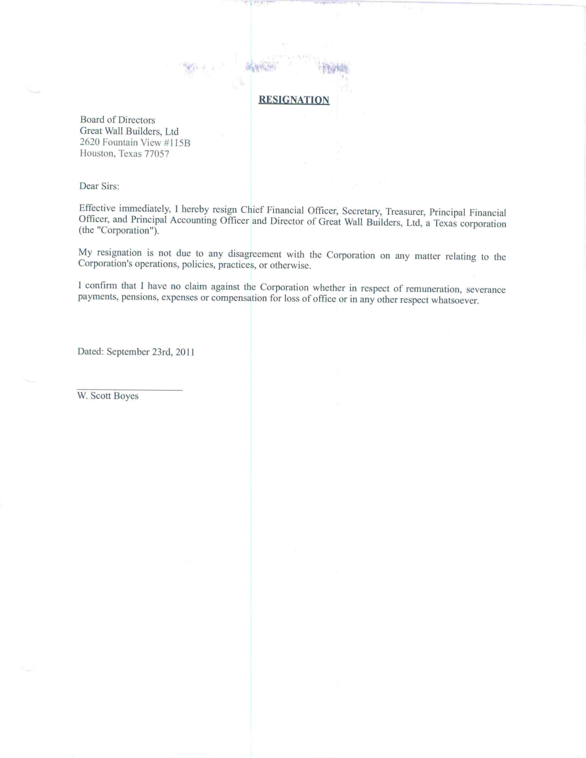 Resignation Lette Simple Resignation Letter Two Week Notice Sample
