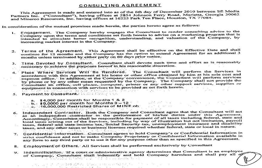 Minerco, Inc. - Form 10-K - Ex-10.24 - Addendum To Consulting