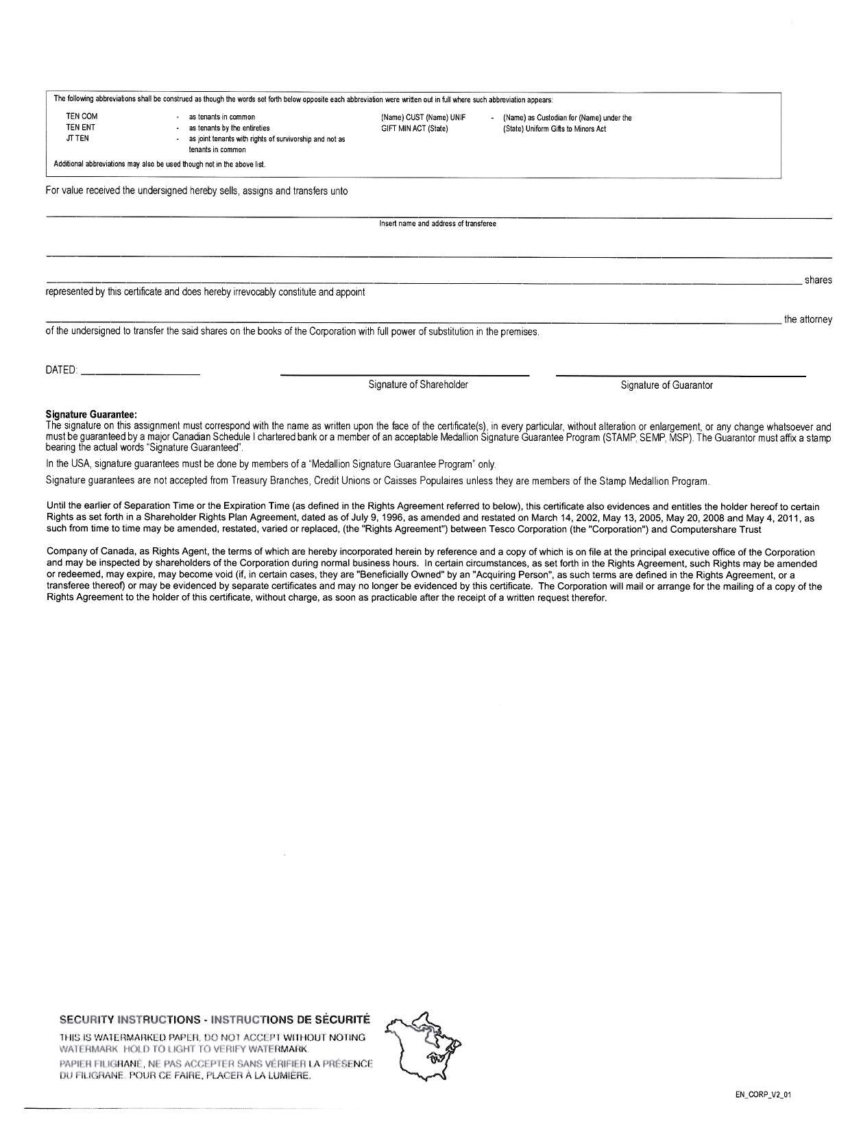 Tesco Corp Form 10 Q Ex 41 Form Of Tesco Common Share