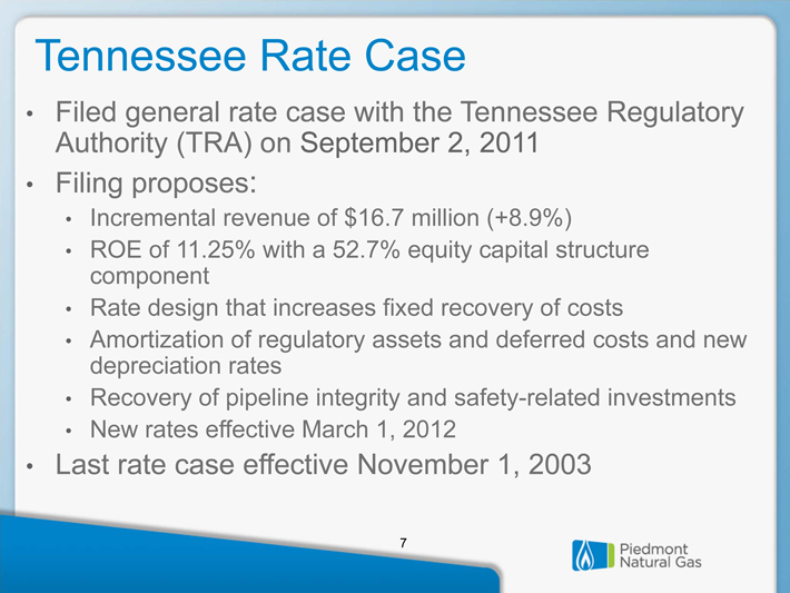 Piedmont Natural Gas Rate Case