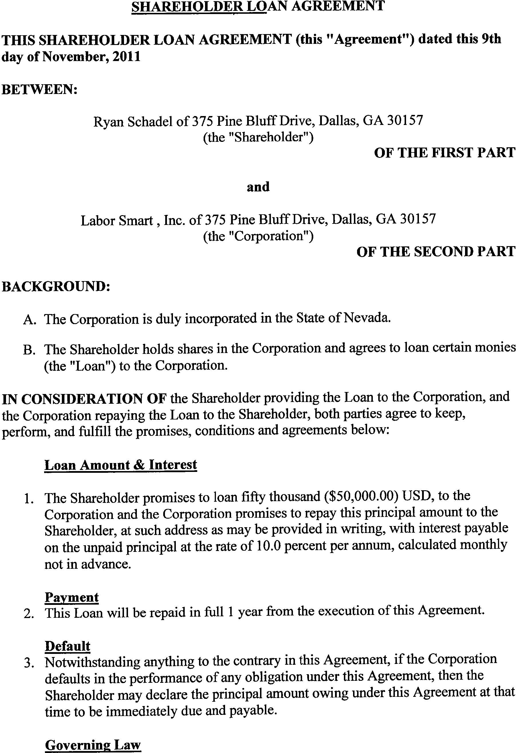 Labor smart inc form s 1 a ex 10 1 shareholder for Directors loan to company agreement template