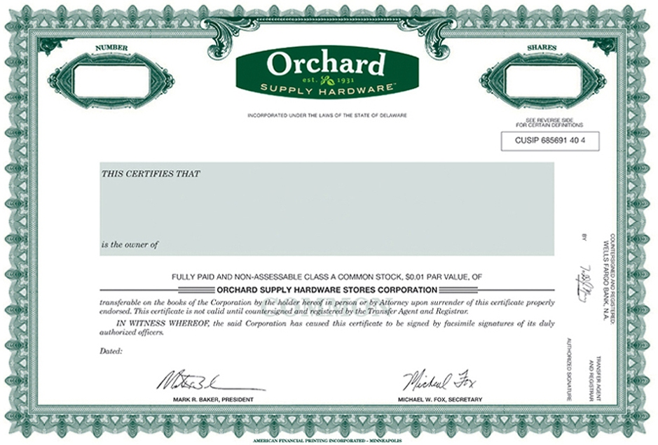 OSH LIQUIDATING Corp FORM SA EX SPECIMEN CLASS A - S corporation stock certificate template