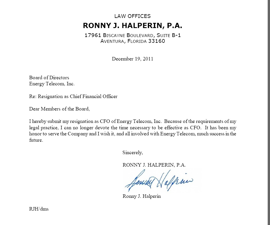 Pfo global inc form 8 k ex 991 letter of resignation from pfo global inc form 8 k ex 991 letter of resignation from ronny halperin december 23 2011 spiritdancerdesigns Choice Image