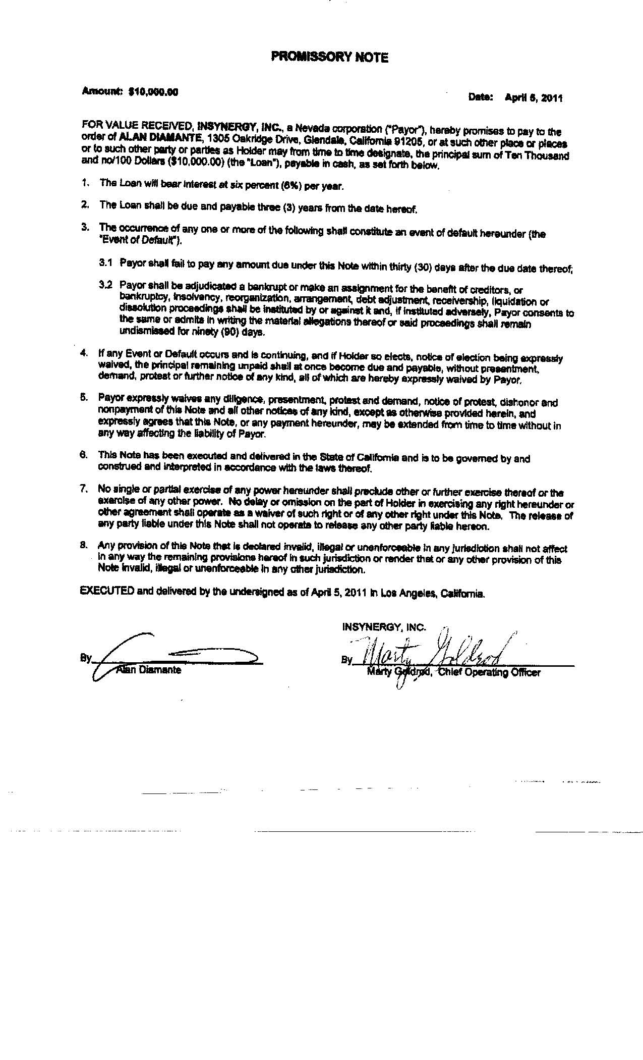 Starco Brands, Inc.   FORM S 1/A   EX 11.1   PROMISSORY NOTE   April 17,  2012  Form Promissory Note