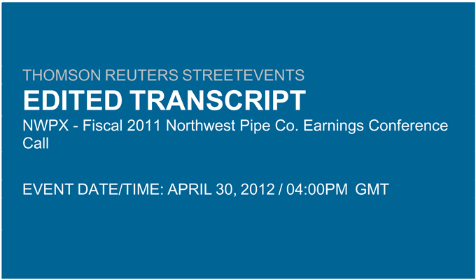 Northwest Pipe Co Form 8 K Ex 99 1 Transcript Of