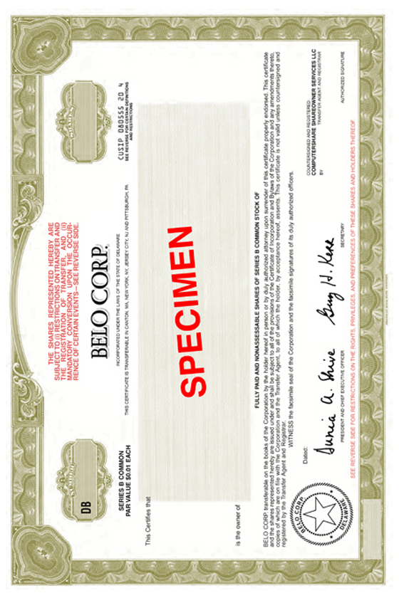 BELO CORP FORM 8K EX42 SPECIMEN FORM OF CERTIFICATE – Specimen Share Certificate