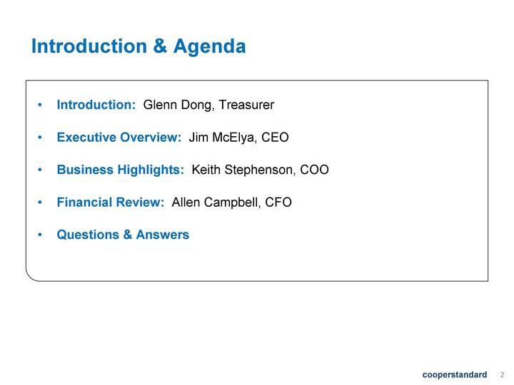 Cooper Standard Holdings Inc Form 8 K Ex 991 Presentation