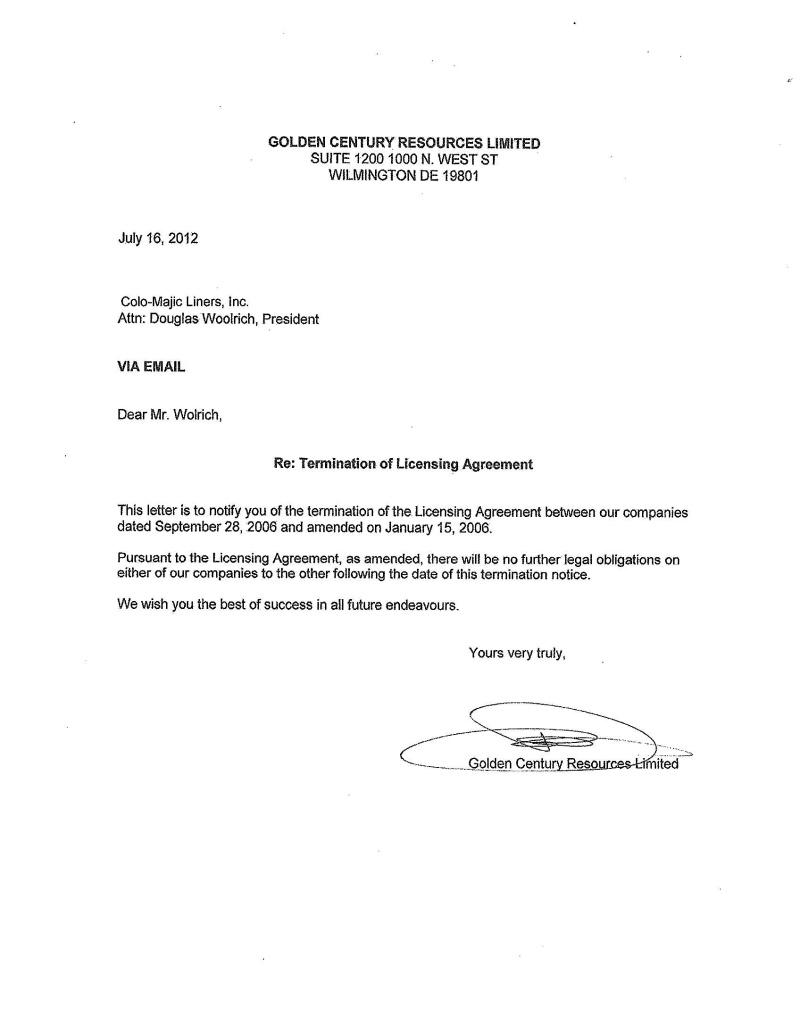 LETTER OF TERMINATION TO