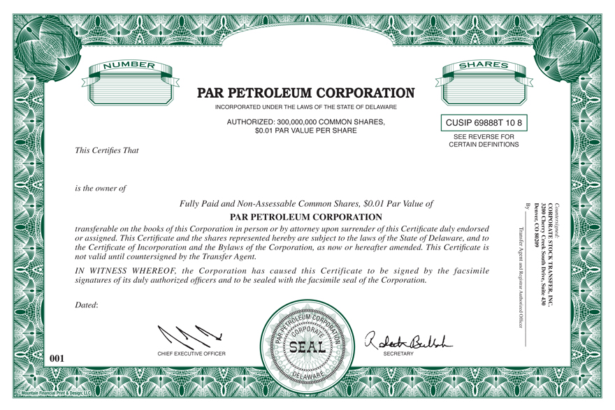 corporate bond certificate template - par pacific holdings inc form 8 k ex 4 1 form of