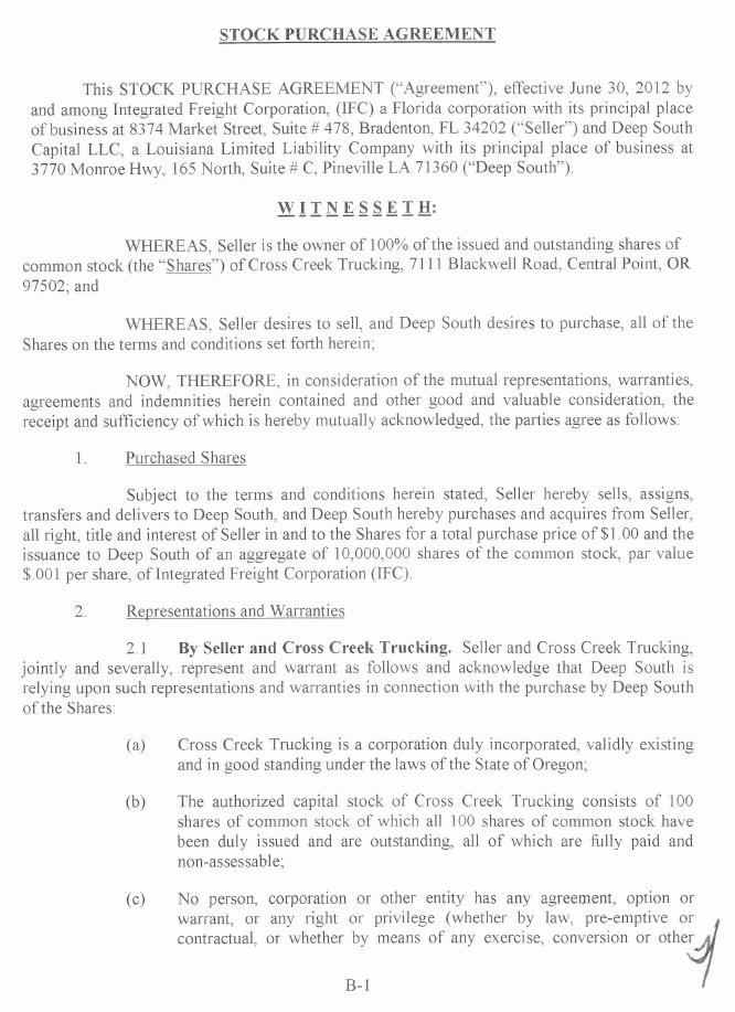 INTEGRATED FREIGHT Corp FORM 8K EX102 STOCK PURCHASE – Stock Purchase Agreement Template