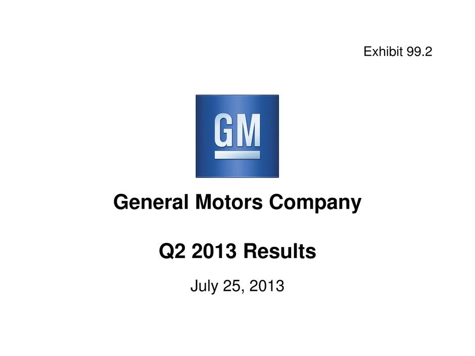 General motors co form 8 k ex 99 2 analyst charts for General motors asset management corp