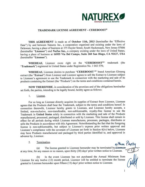 Nuzee Inc Form S 1 Ex 10 Trademark License Agreement With