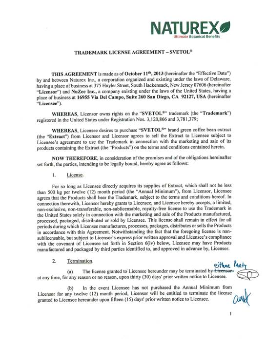 Nuzee, Inc. - Form S-1 - Ex-10 - Trademark License Agreement With