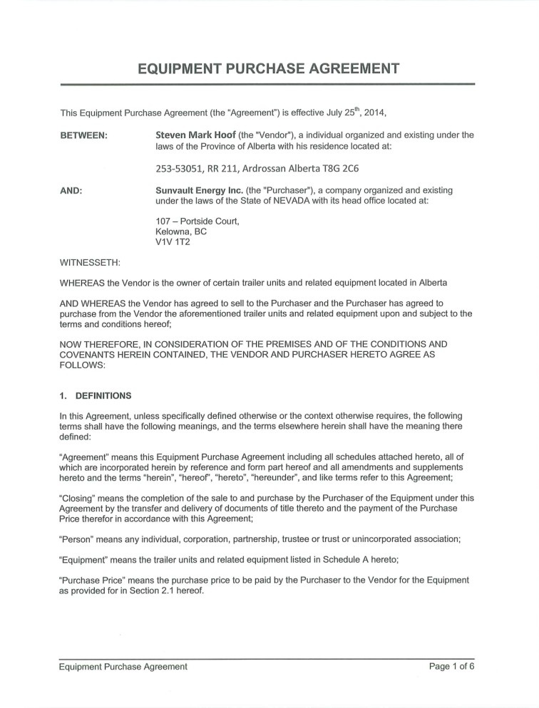 Sunvault Energy Inc Form 8 K Ex 102 Equipment Purchase
