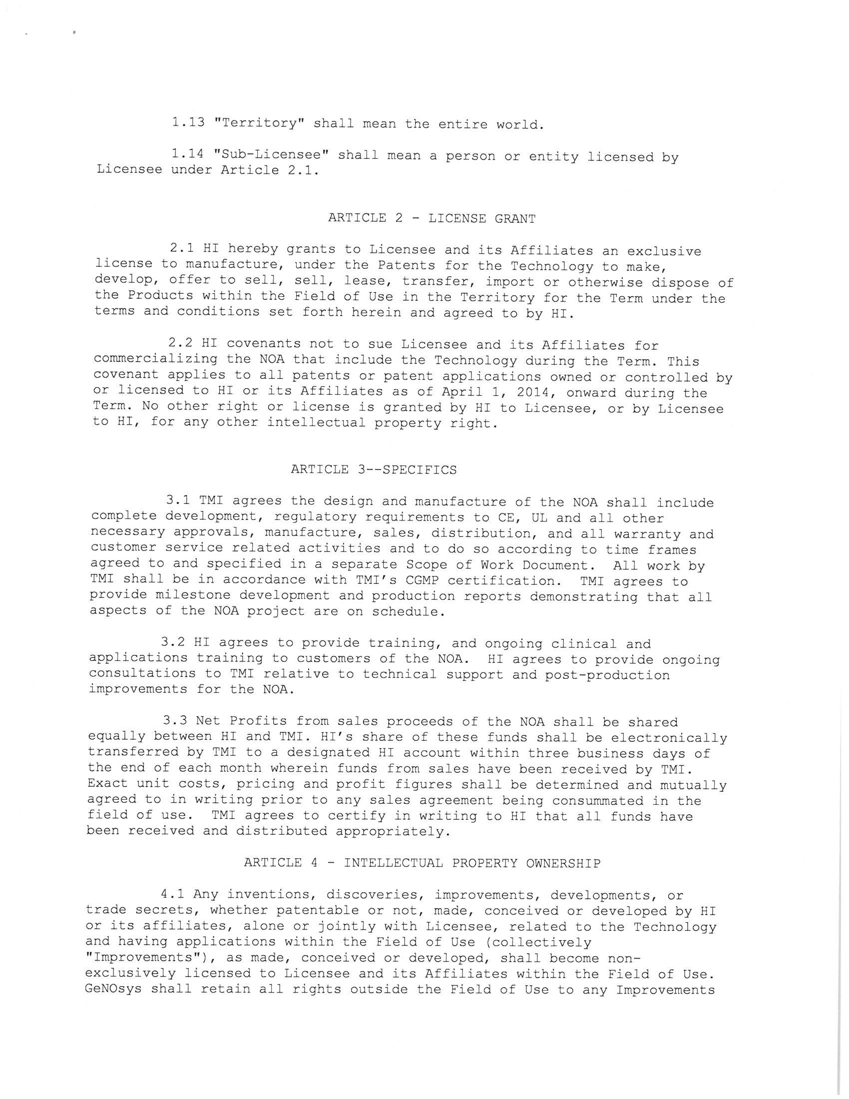 Genosys Inc Form 8 K Ex 10 Manufacturing License Agreement