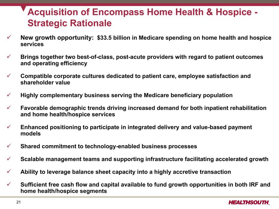 Encompass Health Corp - FORM 8-K - EX-99 1 - EXHIBIT 99 1