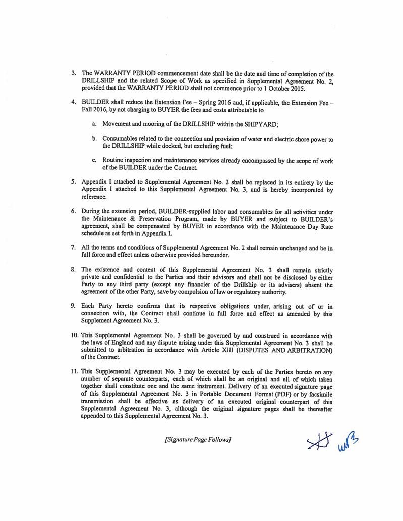 Atwood Oceanics Inc Form 10 Q Ex 101 Supplemental Agreement