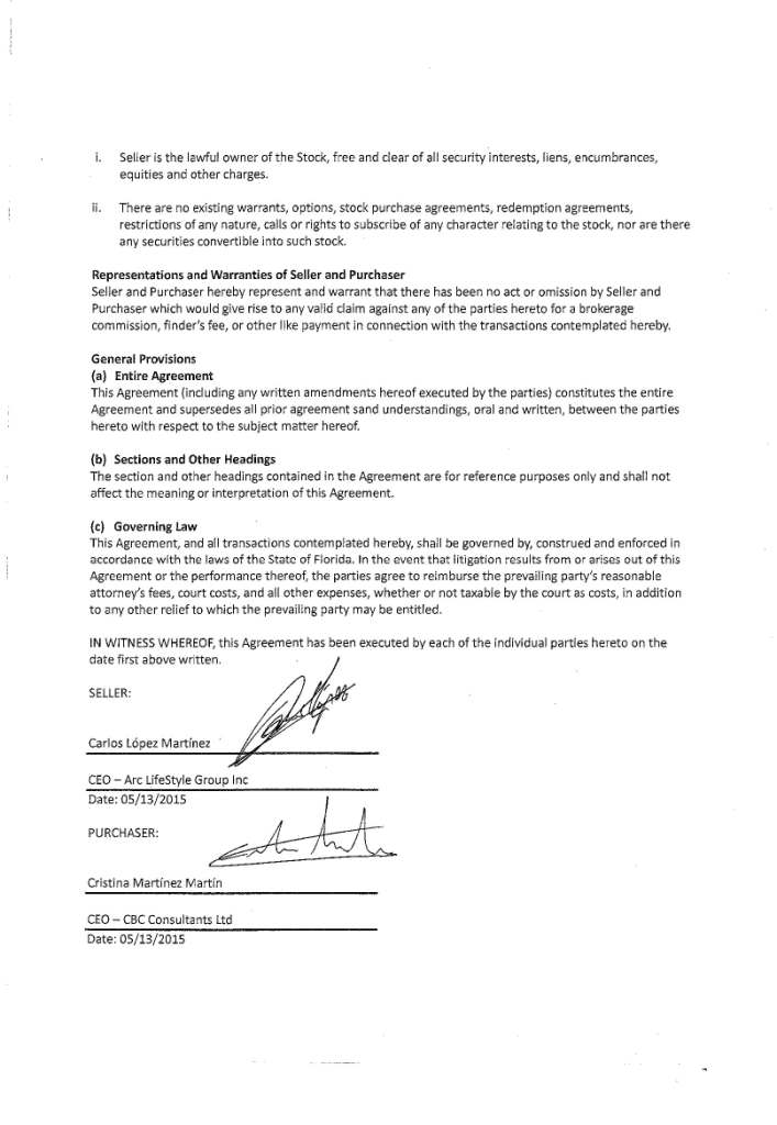 Arc Lifestyle Group Inc Form S 1 Ex 105 The Stock Purchase