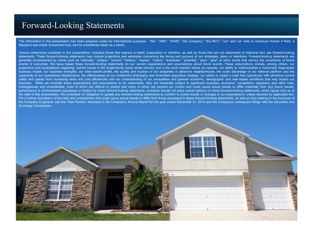 American Homes 4 Rent FORM 8 K EX 99 1 EXHIBIT 99 1