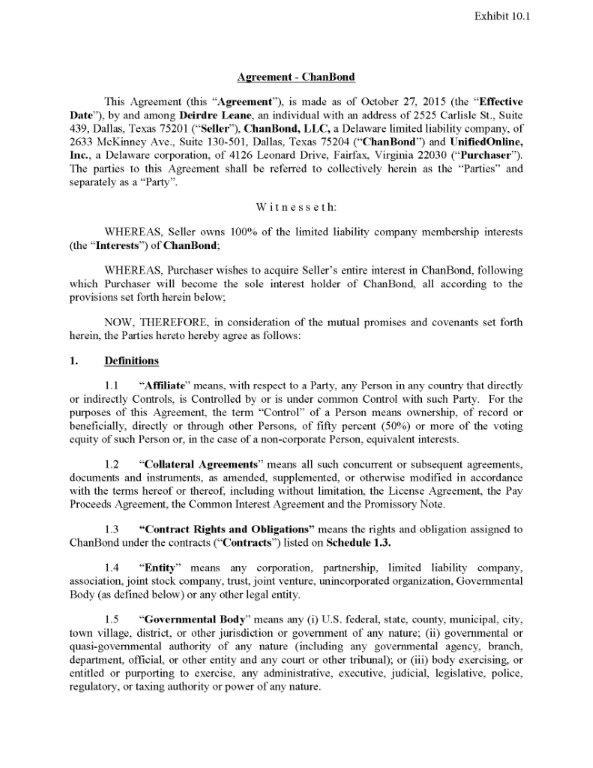 Unifiedonline Inc Form 8 K Ex 101 Chanbond Agreement