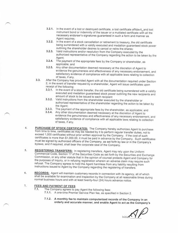 Americatowne Inc Form 8 K Ex 101 Island Stock Transfer