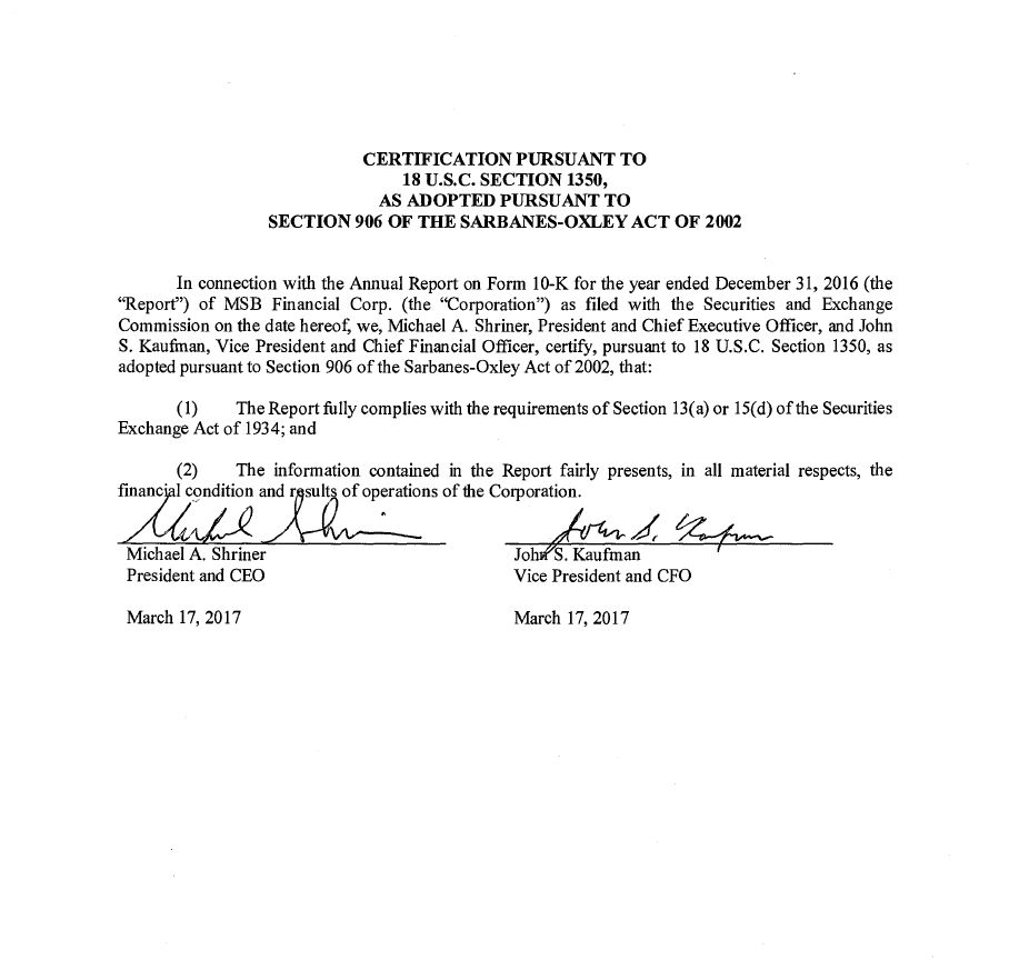 Msb Financial Corp Form 10 K Ex 32 Certification Pursuant To